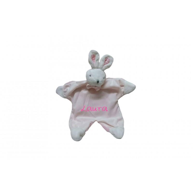 "DOUDOU Conejo rosa/blanco ""Personalizado"""