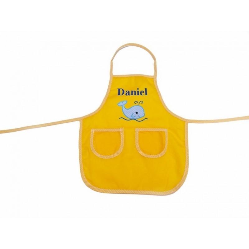 """Delantal Amarillo BALLENA 40x35 """"Personalizado"""""""